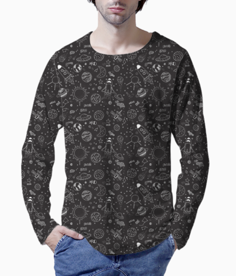 Space doodle   black henley front