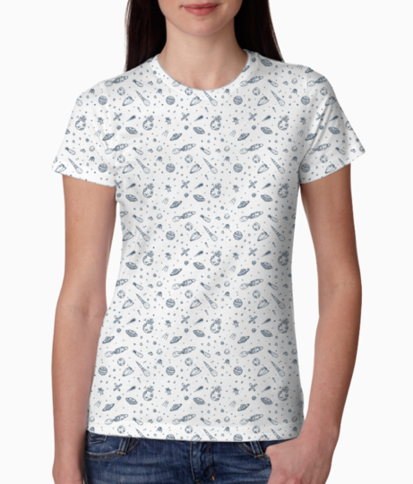 Space doodle   blue tee front