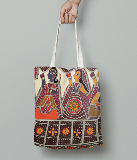 Nishad hunter king helping rama lakshmana and sita bl88 l tote bag front