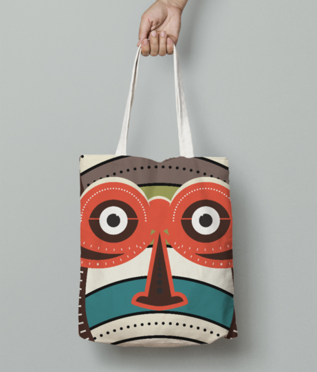 African authentic tribal art tote bag front