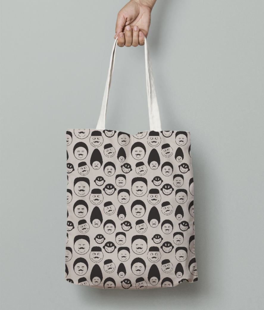 Black and white emotion faces tote bag front