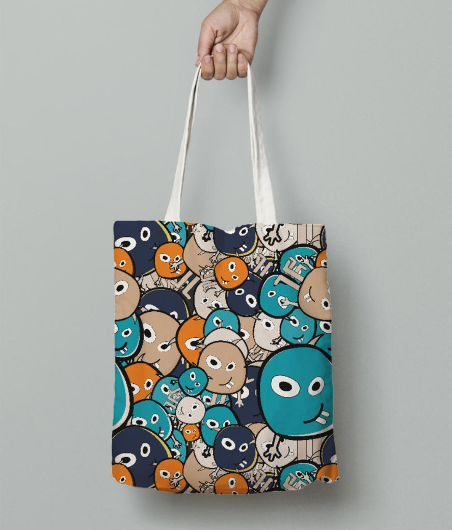 Cartoon monsters tote bag front