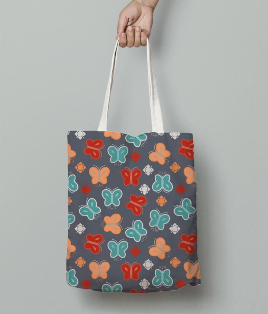 Butterfly pattern tote bag front