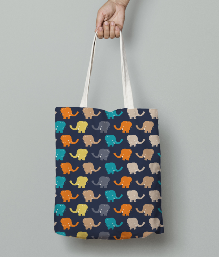 Cute elephant tote bag front