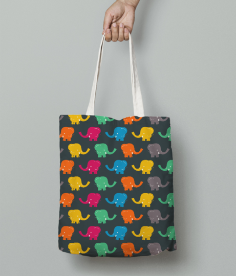 Cartoon elephant tote bag front