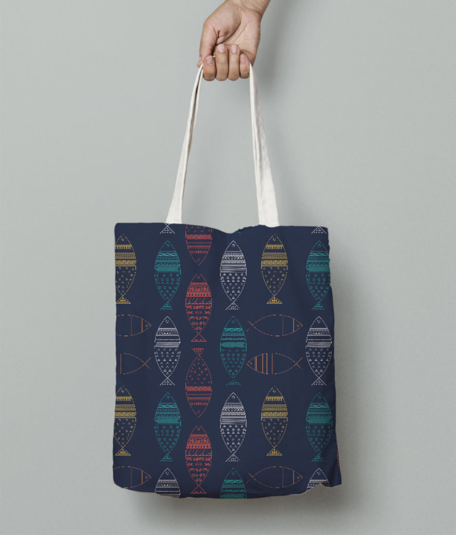 Color fish tote bag front