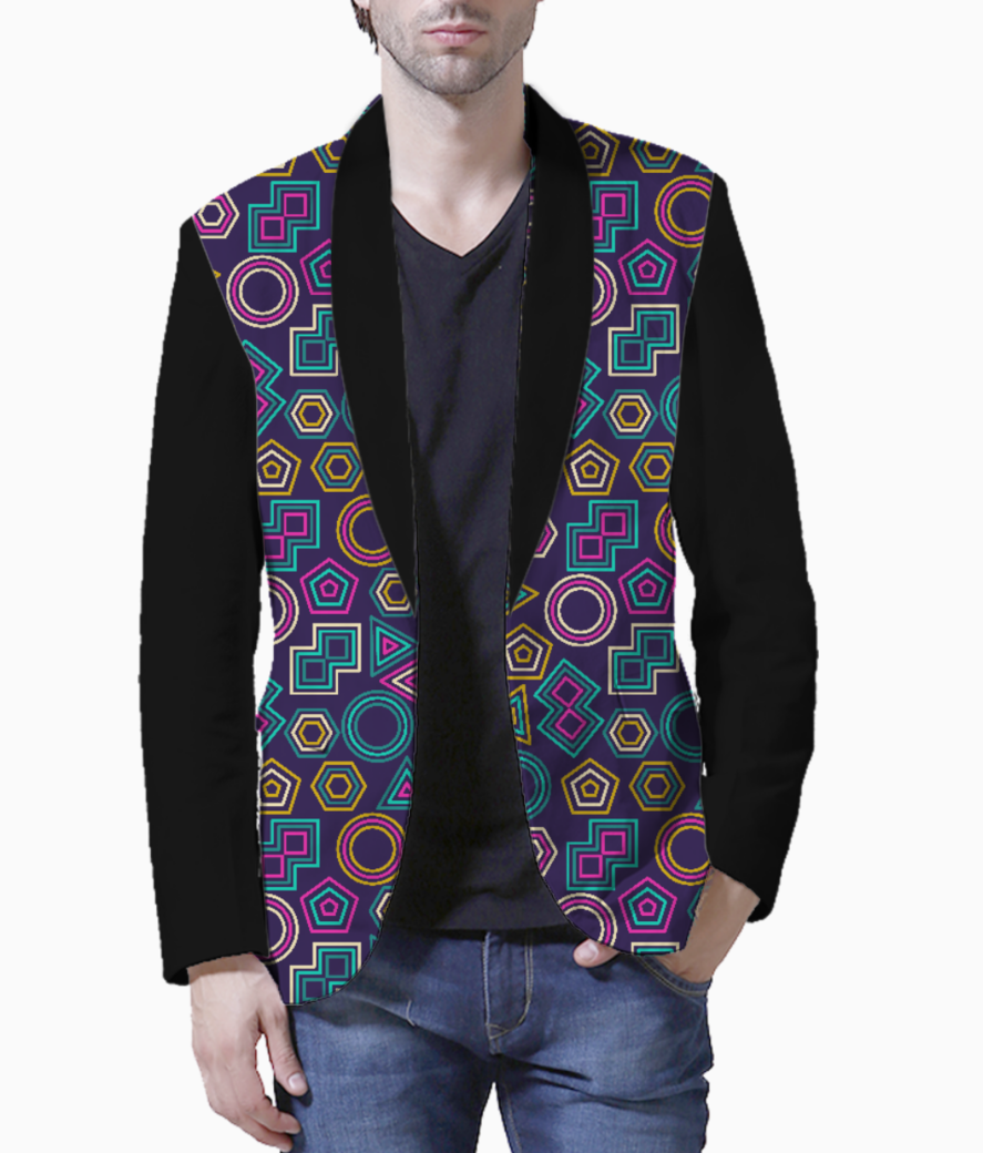 Abstract tribal pattern blazer front