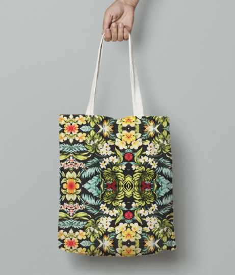 Tropical floral tote bag front