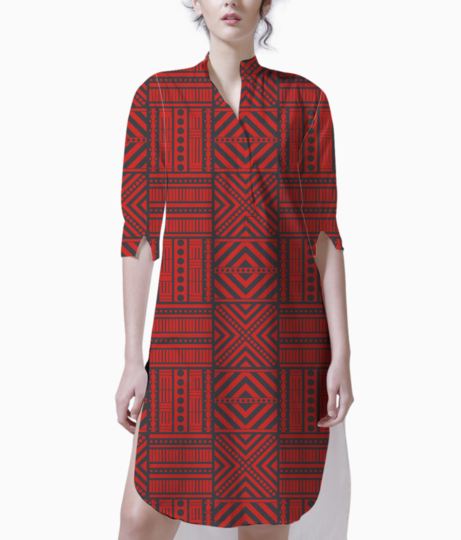 Red boho chic style kurti front