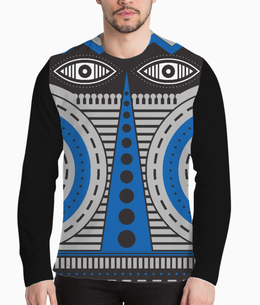 Blue illuminati tribal henley front