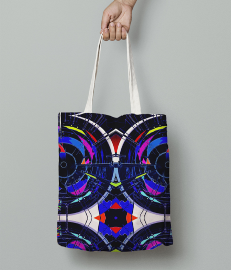 Abstract hybrid tote bag front