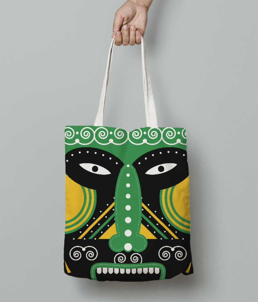 Ritual mask tote bag front