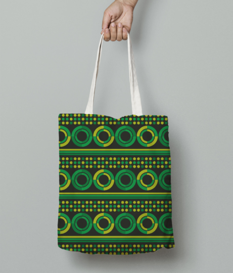 Green geometry circles tote bag front