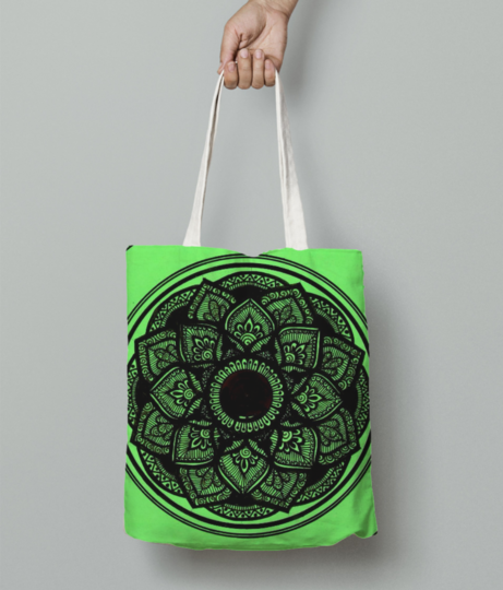 Greeen tote bag front