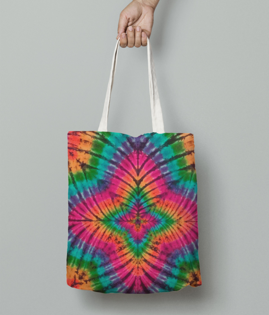 Tie and dye tote bag front