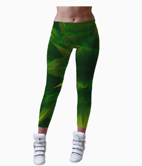 Green burst leggings front