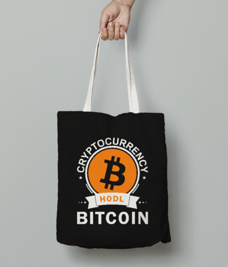 Cryptocurrency bitcoin tote bag front