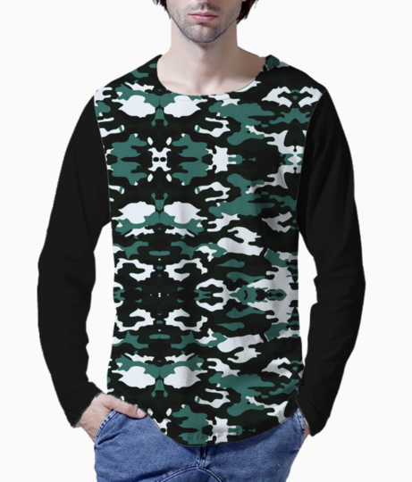 Abstract camo henley front