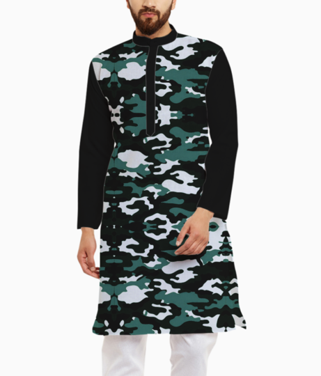 Abstract camo kurta front
