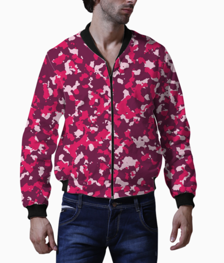 Abstract pink camo bomber front