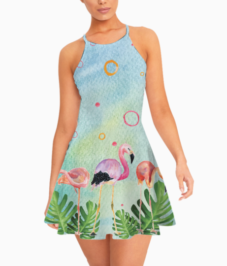 Flamingo party summer dress front