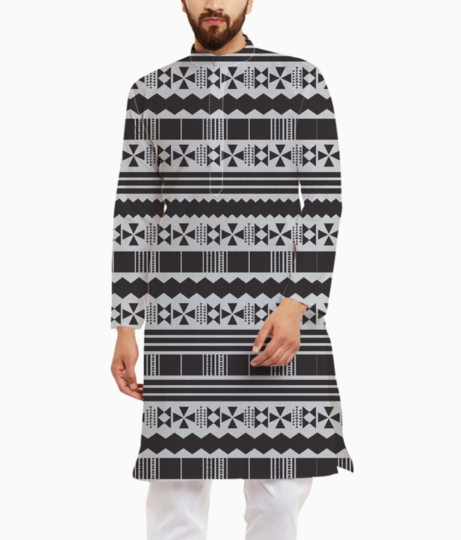 Gray aztec tribal kurta front