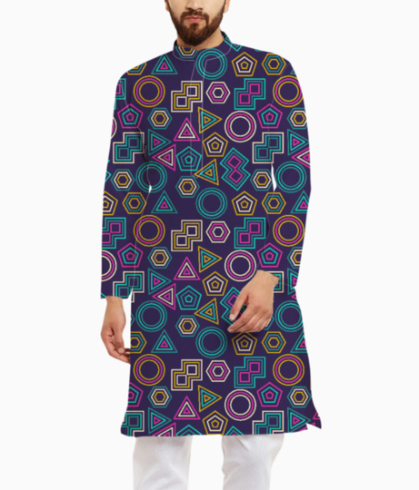 Abstract tribal pattern kurta front