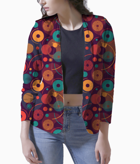 Colorful rounded shapes blazer front