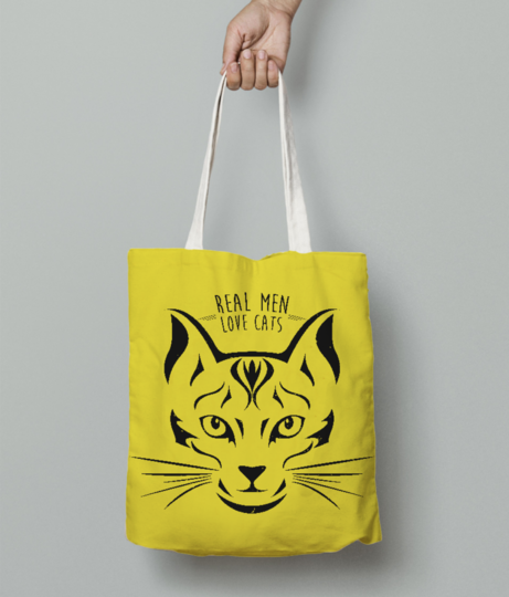 Real man love cats tote bag front