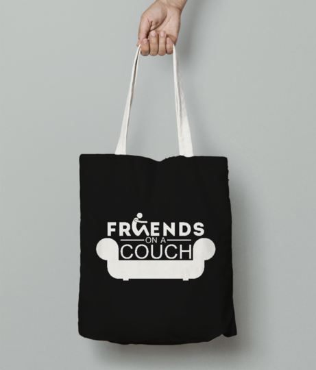 Friends on a couch tote bag front
