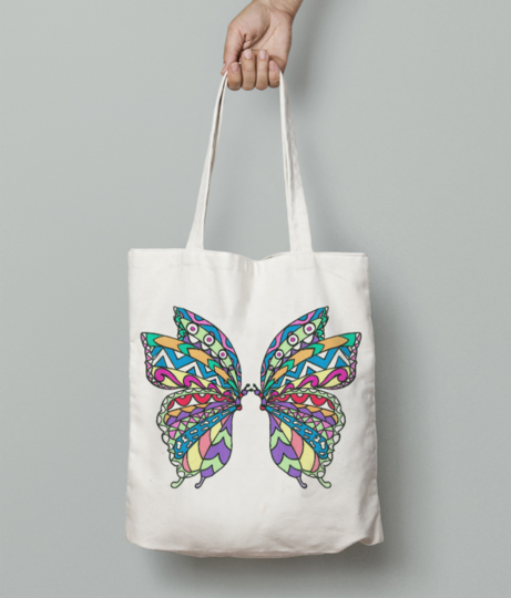 Butterfly collage tote bag front