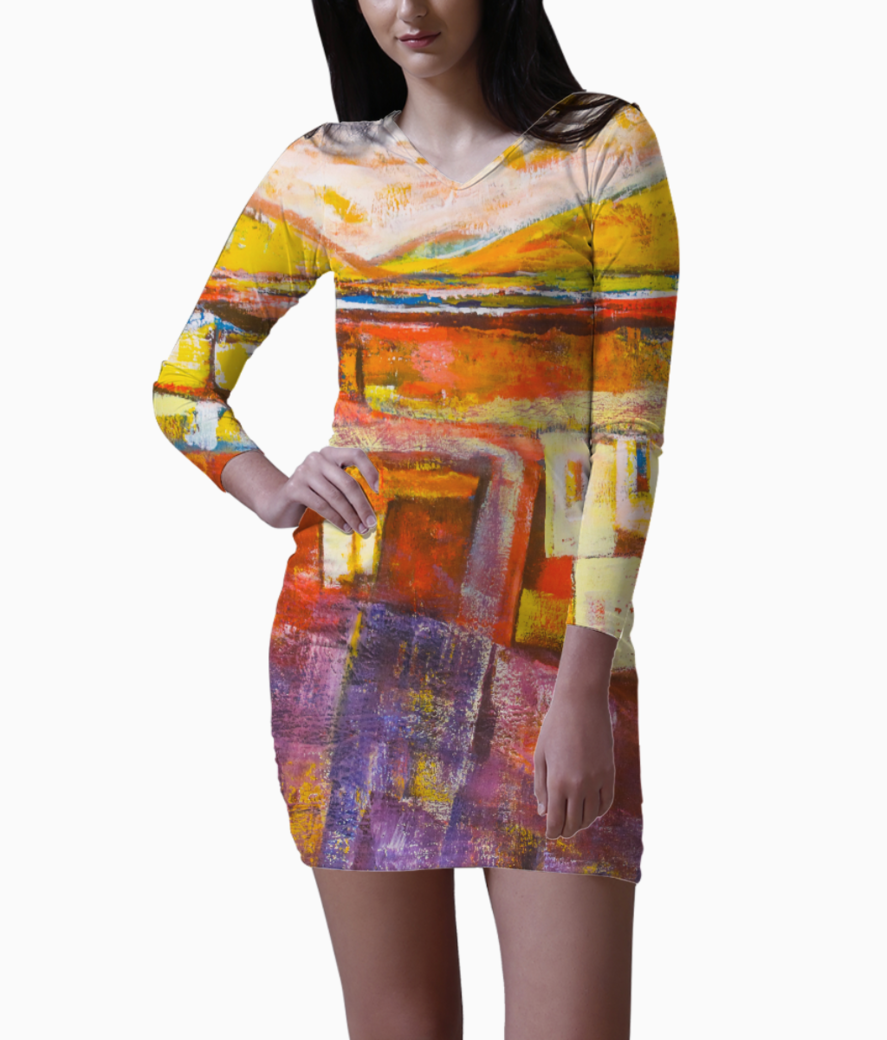 Red yellow blocks bodycon dress front