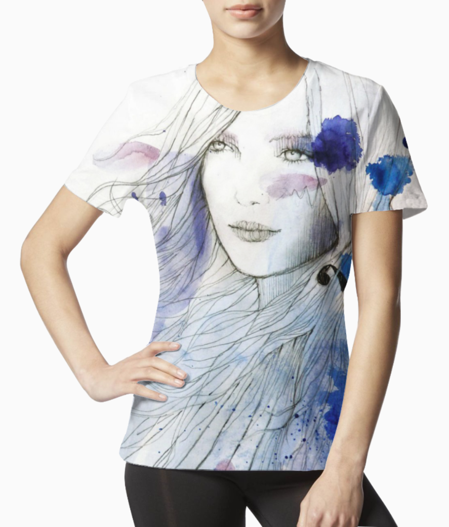 Blue pencil girl sketch tee front