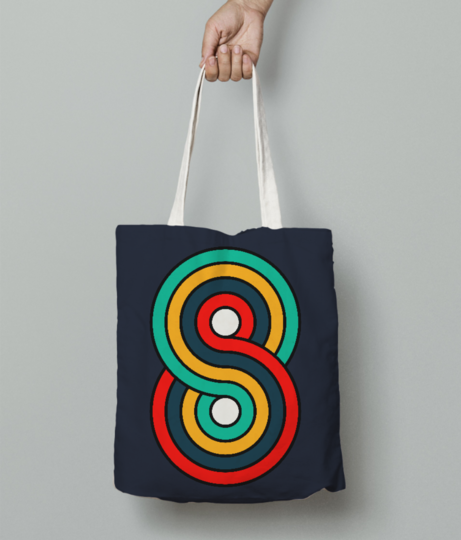 Eight typography tote bag front