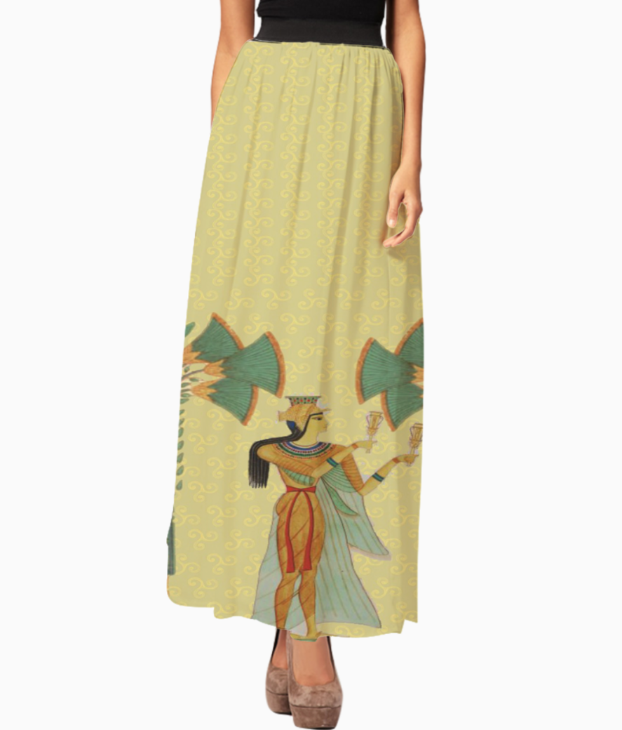 Egyptian lady with trees long skirt front