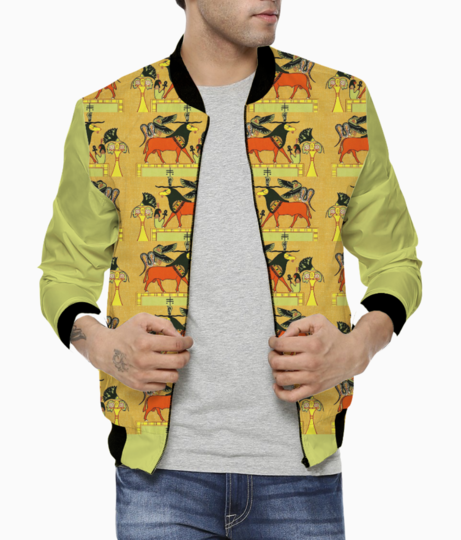 Egyptian gods animals bomber front