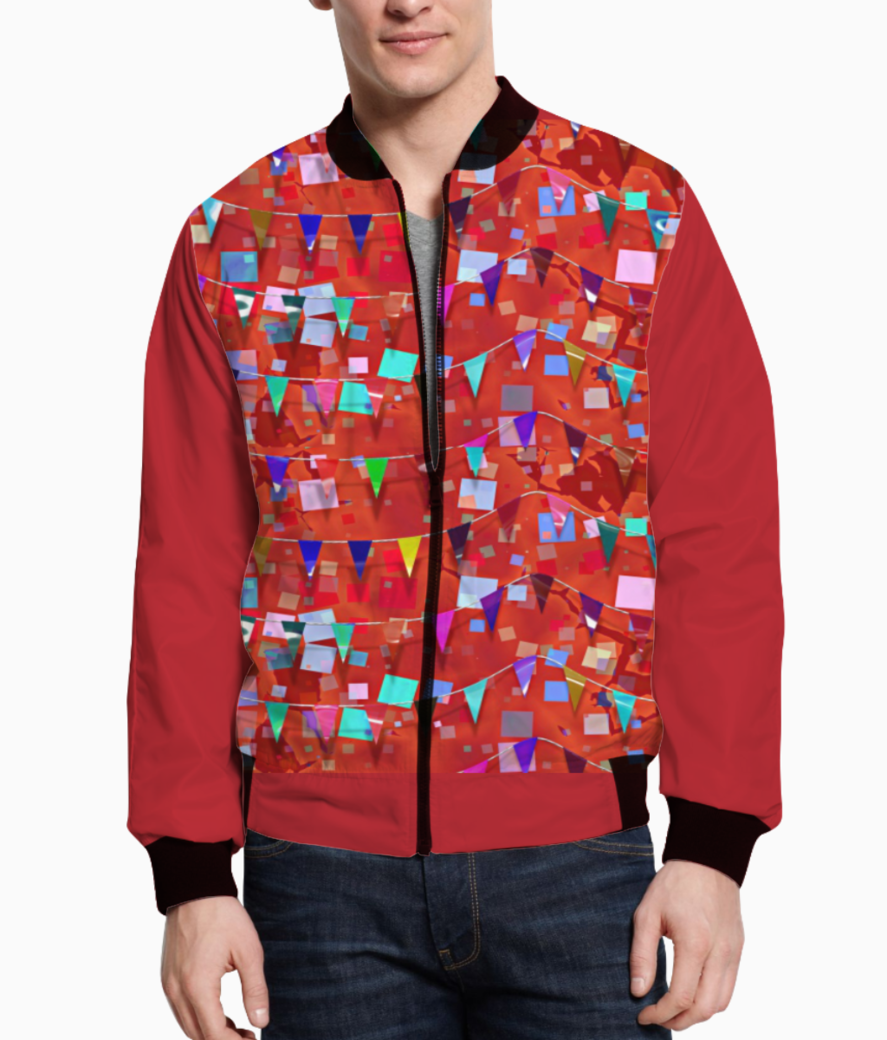 Pattern red confetti bomber front