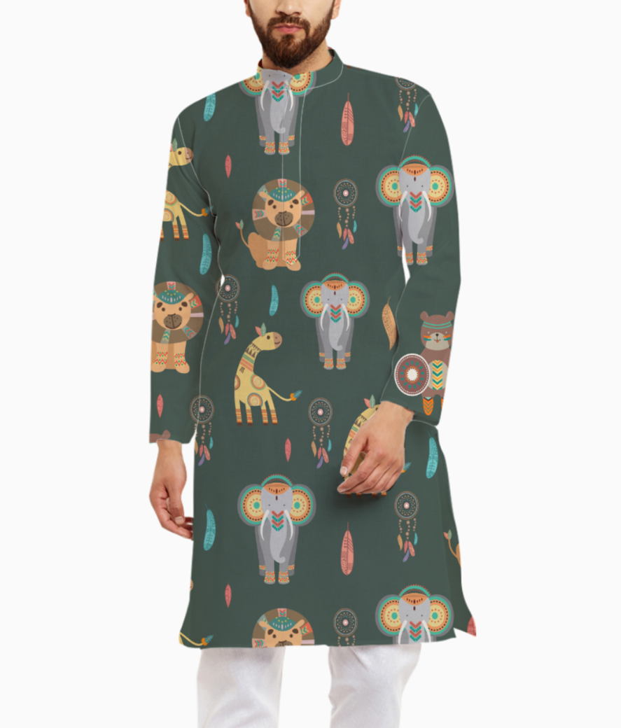 Tribal animals kurta front
