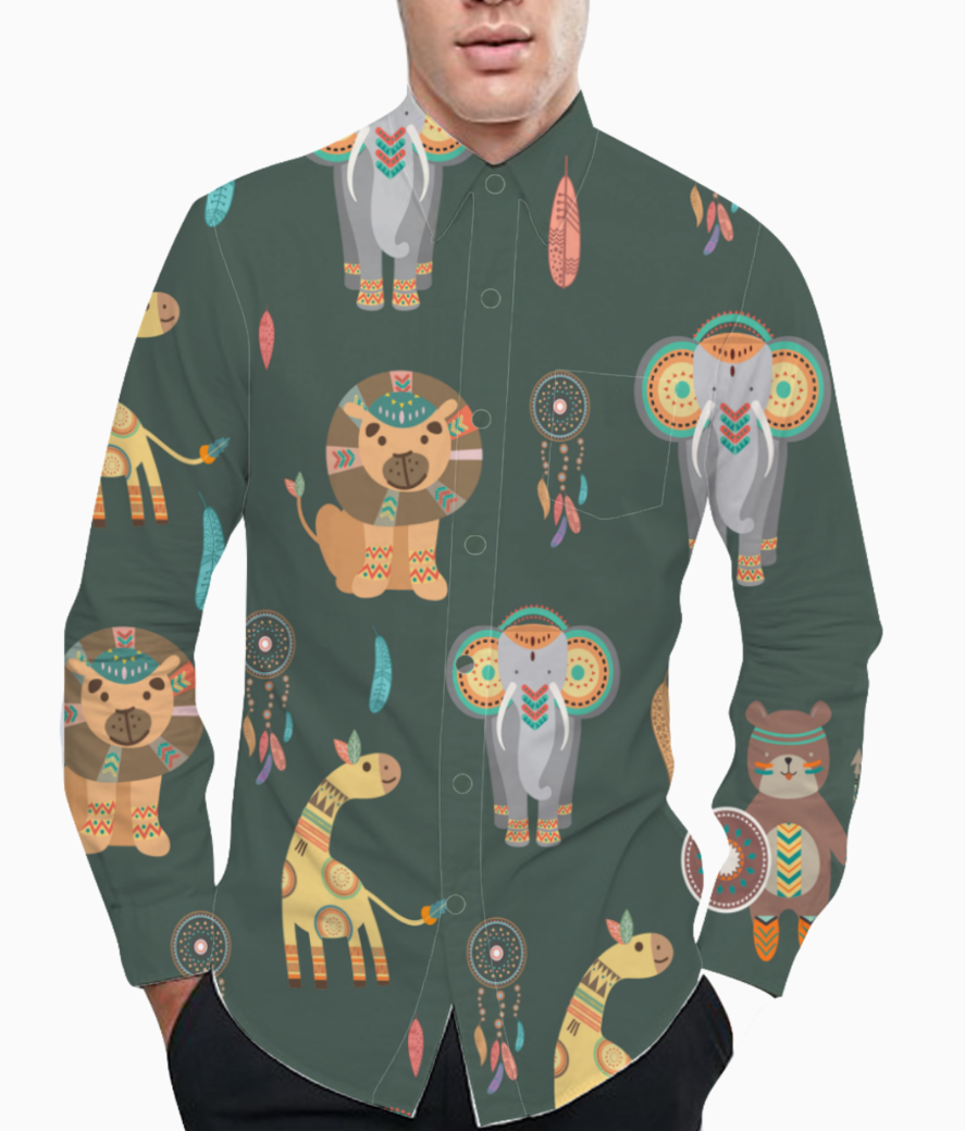Tribal animals basic shirt front