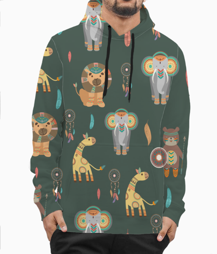Tribal animals hoodie front