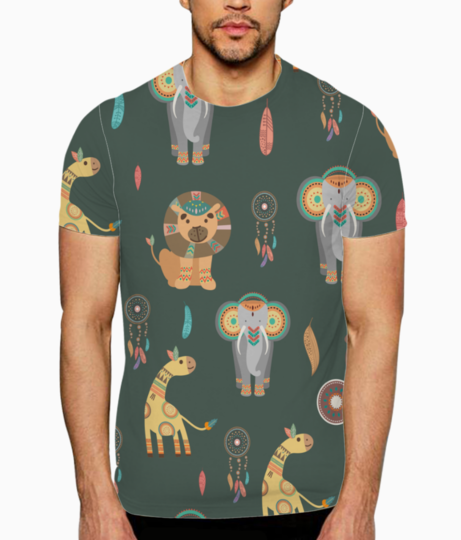 Tribal animals t shirt front
