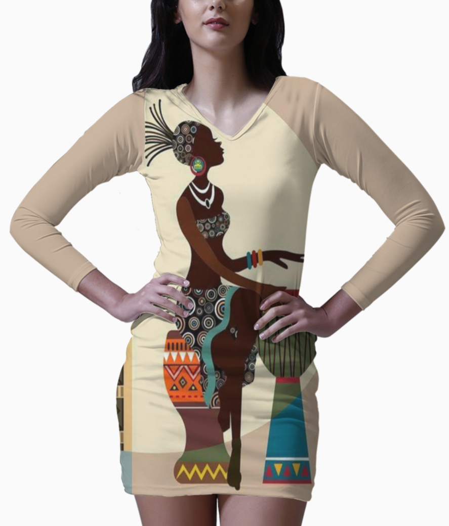 African music player bodycon dress front