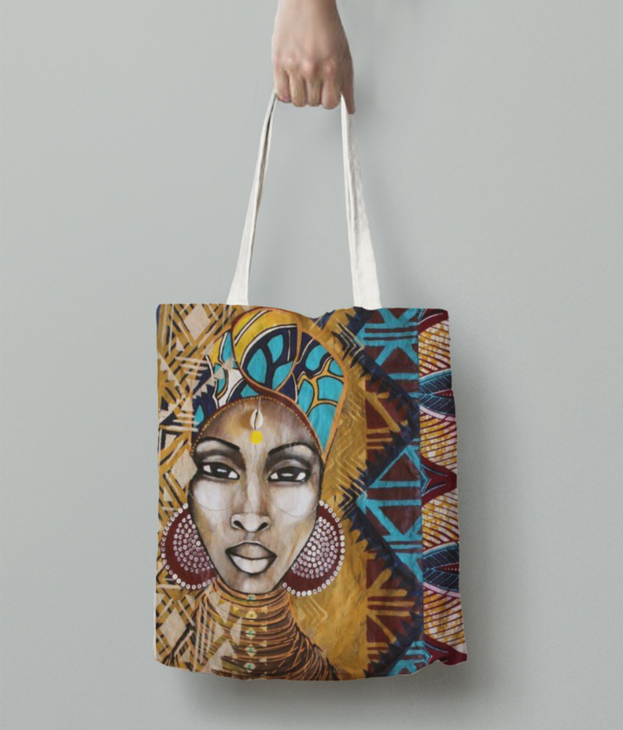 African woman stare tote bag back
