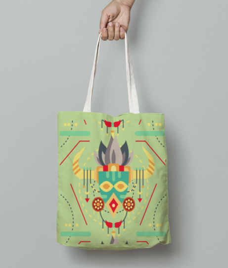 Tribal mask tote bag front