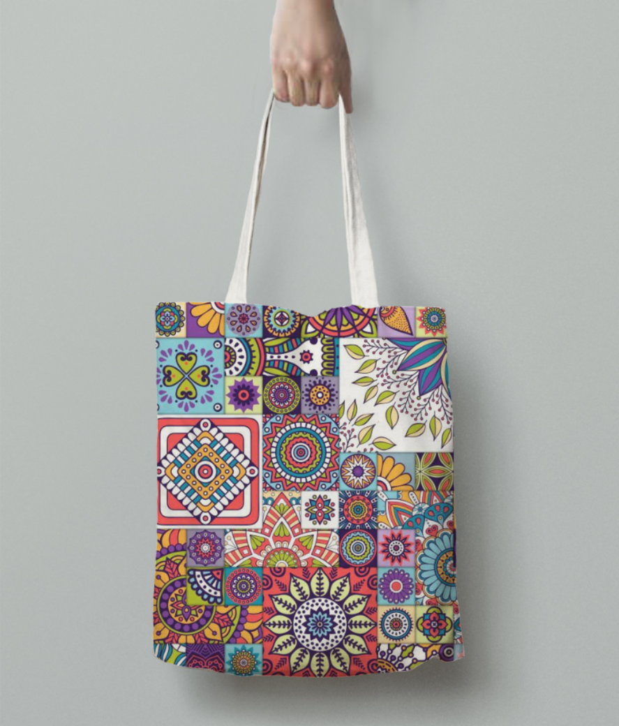 Moroccan design pattern with mandalas free vector moroccan inspired rugs uk tote bag back