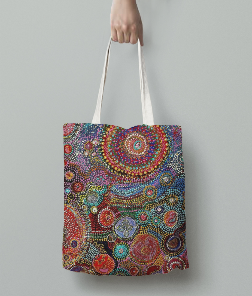 African dots tote bag back