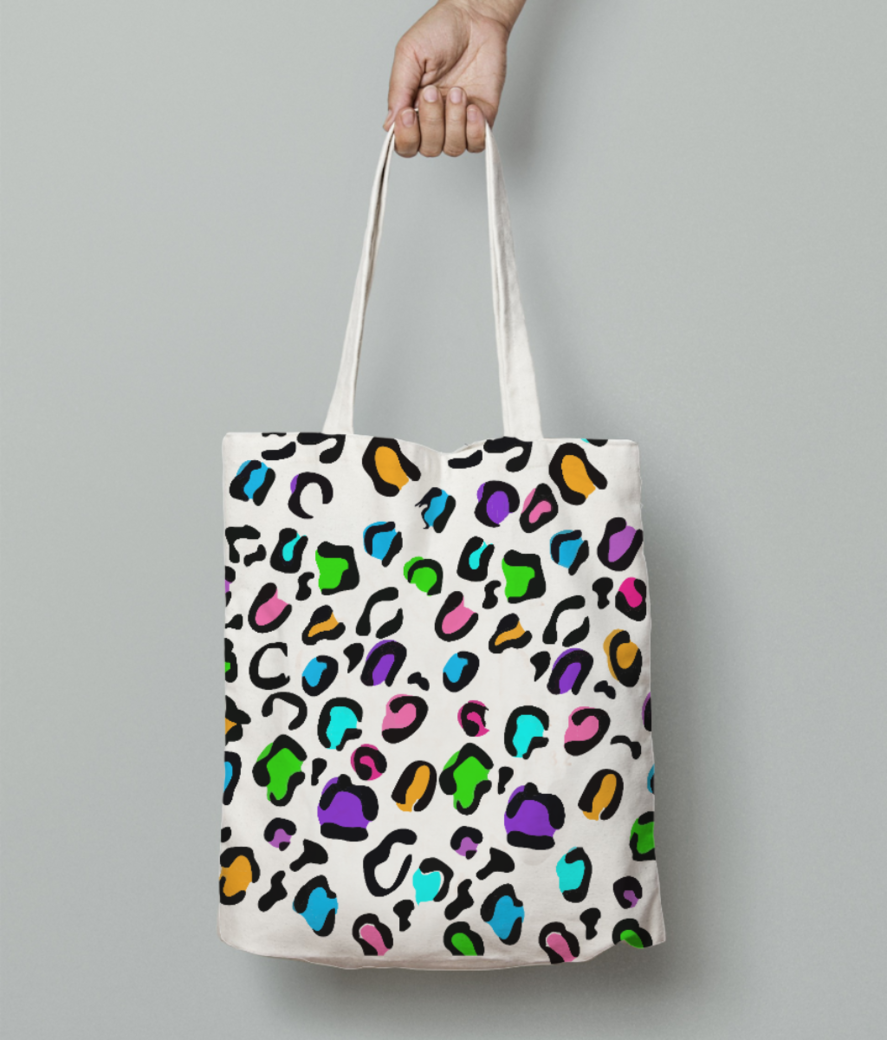 Animal printed tote bag front