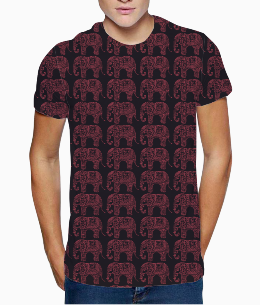 Indian elephant pattern t shirt front