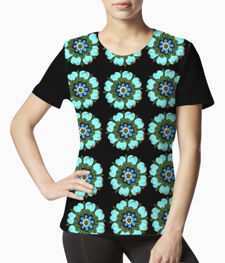 Floral black tee front