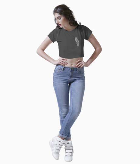 Feather black white poster crop top front